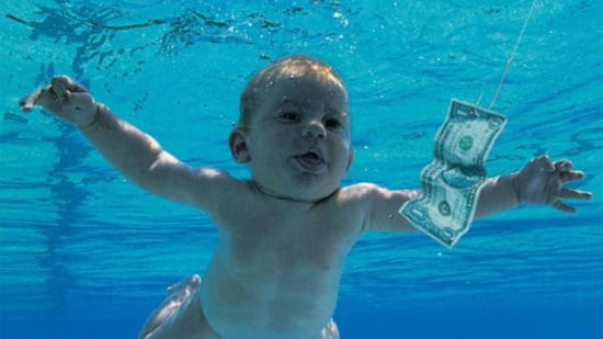 A baby in a swimming pool with a dollar bill – also the cover image of Nirvana's Nevermind.