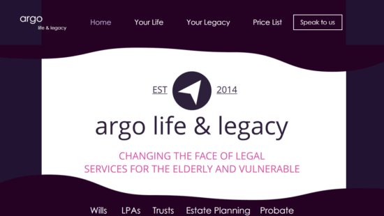 LawWare testimonial: Argo Life website shot